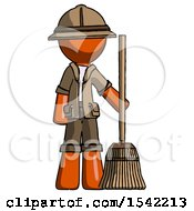 Orange Explorer Ranger Man Standing With Broom Cleaning Services