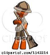 Orange Explorer Ranger Man Sweeping Area With Broom
