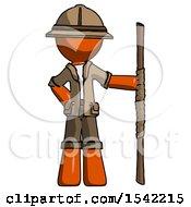 Orange Explorer Ranger Man Holding Staff Or Bo Staff