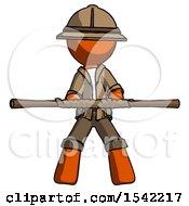 Orange Explorer Ranger Man Bo Staff Kung Fu Defense Pose