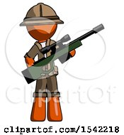 Orange Explorer Ranger Man Holding Sniper Rifle Gun