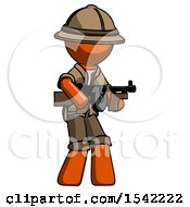 Orange Explorer Ranger Man Tommy Gun Gangster Shooting Pose