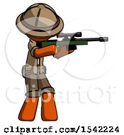 Orange Explorer Ranger Man Shooting Sniper Rifle
