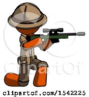 Orange Explorer Ranger Man Kneeling Shooting Sniper Rifle