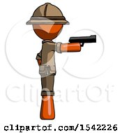 Orange Explorer Ranger Man Firing A Handgun