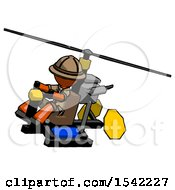 Orange Explorer Ranger Man Flying In Gyrocopter Front Side Angle Top View