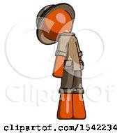 Orange Explorer Ranger Man Depressed With Head Down Back To Viewer Left