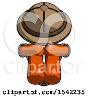 Orange Explorer Ranger Man Sitting With Head Down Facing Forward