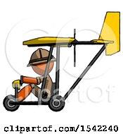 Orange Explorer Ranger Man In Ultralight Aircraft Side View