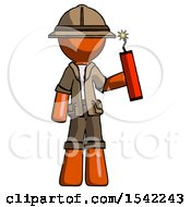 Orange Explorer Ranger Man Holding Dynamite With Fuse Lit