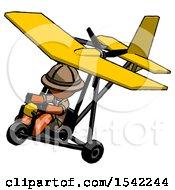 Orange Explorer Ranger Man In Ultralight Aircraft Top Side View