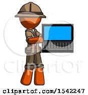 Orange Explorer Ranger Man Holding Laptop Computer Presenting Something On Screen