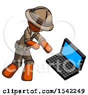 Orange Explorer Ranger Man Throwing Laptop Computer In Frustration