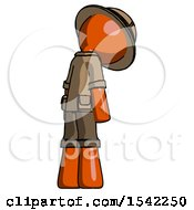 Orange Explorer Ranger Man Depressed With Head Down Back To Viewer Right
