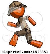 Orange Explorer Ranger Man Running Fast Left