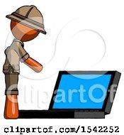 Orange Explorer Ranger Man Using Large Laptop Computer Side Orthographic View
