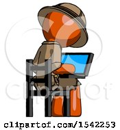 Orange Explorer Ranger Man Using Laptop Computer While Sitting In Chair View From Back