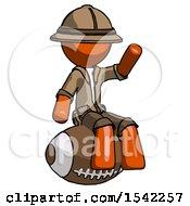 Orange Explorer Ranger Man Sitting On Giant Football