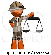 Orange Explorer Ranger Man Holding Scales Of Justice