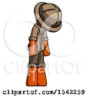Orange Explorer Ranger Man Depressed With Head Down Turned Right