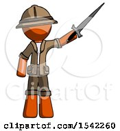 Orange Explorer Ranger Man Holding Sword In The Air Victoriously