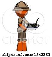Orange Explorer Ranger Man Holding Noodles Offering To Viewer
