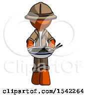 Orange Explorer Ranger Man Serving Or Presenting Noodles