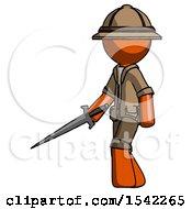Orange Explorer Ranger Man With Sword Walking Confidently