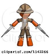 Orange Explorer Ranger Man Two Sword Defense Pose