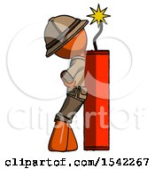 Orange Explorer Ranger Man Leaning Against Dynimate Large Stick Ready To Blow