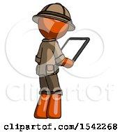 Orange Explorer Ranger Man Looking At Tablet Device Computer Facing Away