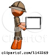 Orange Explorer Ranger Man Show Tablet Device Computer To Viewer Blank Area