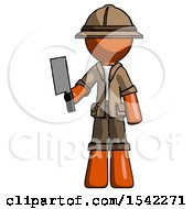 Orange Explorer Ranger Man Holding Meat Cleaver