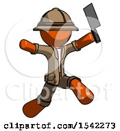 Orange Explorer Ranger Man Psycho Running With Meat Cleaver