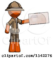 Orange Explorer Ranger Man Holding Large Envelope