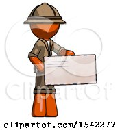 Orange Explorer Ranger Man Presenting Large Envelope