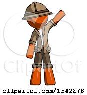 Orange Explorer Ranger Man Waving Emphatically With Left Arm