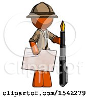 Orange Explorer Ranger Man Holding Large Envelope And Calligraphy Pen