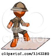 Orange Explorer Ranger Man On Postage Envelope Surfing