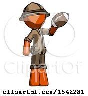 Orange Explorer Ranger Man Holding Football Up