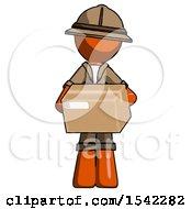 Orange Explorer Ranger Man Holding Box Sent Or Arriving In Mail