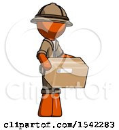 Orange Explorer Ranger Man Holding Package To Send Or Recieve In Mail