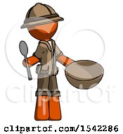 Orange Explorer Ranger Man With Empty Bowl And Spoon Ready To Make Something