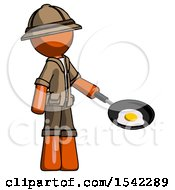 Orange Explorer Ranger Man Frying Egg In Pan Or Wok Facing Right