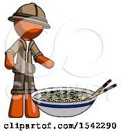 Orange Explorer Ranger Man And Noodle Bowl Giant Soup Restaraunt Concept