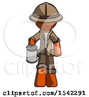 Orange Explorer Ranger Man Begger Holding Can Begging Or Asking For Charity