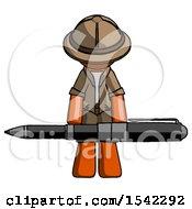 Orange Explorer Ranger Man Weightlifting A Giant Pen