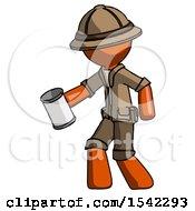 Orange Explorer Ranger Man Begger Holding Can Begging Or Asking For Charity Facing Left
