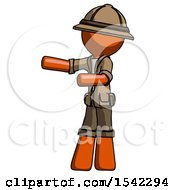 Orange Explorer Ranger Man Presenting Something To His Right