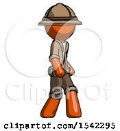 Orange Explorer Ranger Man Walking Turned Right Front View